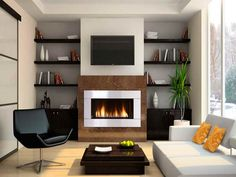 Make Your Room Be Modern With The Contemporary Gas Fireplace Design : Remarkable Modern Gas Fireplace With Shelving Design Tv Above Fireplace, Fireplace Design, Contemporary House, Contemporary Gas Fireplace, Living Room Arrangements, Fireplace Bookshelves, Modern Room, Fireplace Remodel, Contemporary Fireplace