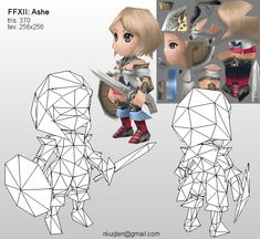 Lowpoly Ashe wireframe by ~Pyroxene on deviantART