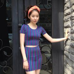 Areum in Korea is wearing the Striped Short Sleeve Crop Top + High-Waist Mini Skirt. #AmericanApparel