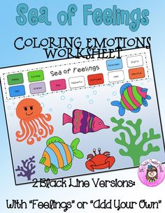 Working through emotions with a Sea of Feelings Coloring Worksheet. Comes in 2 versions: with the feelings labeled & without. Let the student color the sheet and then identify their feelings by assigning a color. Elementary School Counselor, Elementary Schools, Teaching Emotions, Colors And Emotions, Counseling Activities, Guidance Lessons, Coloring Sheets, Small Groups, Worksheets