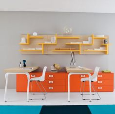 Modern Home Office Design Ideas With Orange Drawers and Yellow Bookshelf For Simple Kids Desk Design