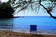 """On the beach in Hawaii  I wish you were here with me walking on the beach in Hawaii Playing on the golden sand looking at the ocean now I understand Love is like the open sea and I wish you were here with me On the beach in Hawaii""   #nosprayhawaii #saturdayafternoon #alohaoutdoors #nakedhawaii #hawaiiunchained #hawaii #808 #igoahu #venturehawaii #beachchair #emptybeach #luckywelivebigisland #natureart #beachday #luckywelivehawaii #kona #konaside #shorlinefishing #fishinginhawaii…"