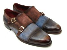 DESCRIPTION: - Blue & Brown hand-painted antique suede upper - Natural finished leather sole - Handcrafted with finest Italian calfskin suede - Dual tone leather cap-toe - Double Monkstraps This is a