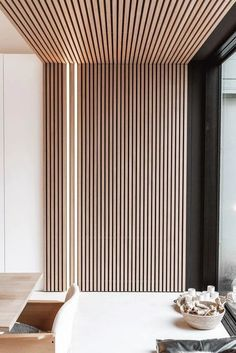Wood Slat Accent Wall with Lights Home Room Design, Interior Design Living Room, Living Room Designs, Wood Slat Wall, Wood Slat Ceiling, Wood Slats, Wood Wall Paneling, Interior Wood Paneling, Wooden Wall Panels
