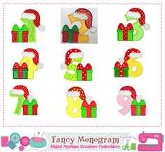 Christmas giftNumbers appliqueSanta ClausNumbers by FancyMonogram