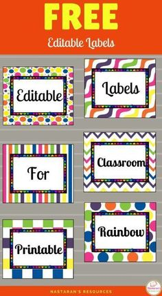 Free Printable Labels-Fun and easy to organize your classroom or home if you have these free editable labels! So easy to use! Classroom Labels Free, Preschool Labels, Classroom Signs, Classroom Jobs Free, Kindergarten Labels, Preschool Classroom Centers, Preschool Name Tags, Preschool Center Signs, Year 6 Classroom