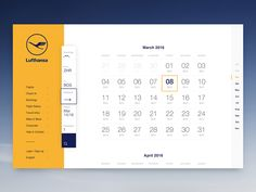 Lufthansa Concept Calendar designed by Dennys Hess for Neonite Interactive. Connect with them on Dribbble; the global community for designers and creative professionals. Calendar Ui, Calendar Layout, Kids Calendar, Web Dashboard, Ui Web, Dashboard Design, Monthly Planner Printable, Printable Calendar Template, Web Design