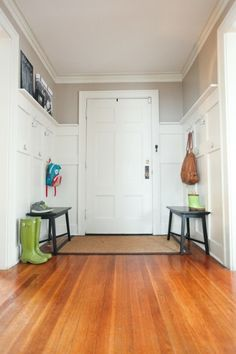 Like the waynes coating look for the mudroom, just probably not that high up the wall. Also liking the paint color on top