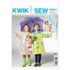 Kwik Sew K3941 Childrens' & Doll Raincoats  XX Small - Large