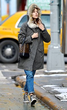 Alexa Chung bundles up against the winter chill as she sets off on some errands in the East Village on 26 February 2014