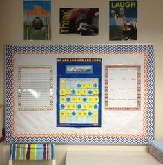 Love this sleek board using Creative Teaching Press's Chevron decor! She used CTP's Blue, Orange and Chevron Border, Chevron Incentive Chart and Chevron Charts. #creativeteachingpress #classroomideas #classdecor #classroomorganization #chevron #chevronclassroom