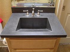 Grey Sink, Rectangular  Concrete Countertops  EnVision Concrete LLC  Sherwood, AR