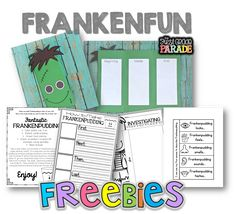 FrankenFUN FREEBIES!  What great and fun ideas for around Halloween from the First Grade Parade!  Cute B-M-E craftivity, frankenstein pudding and more!
