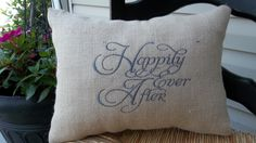 "Embroidered Burlap ""Happily ever after"" Pillow 14"" x 18"", Rustic wedding, wedding gift ,pillow with saying, decorative pillow by cindidavis1 on Etsy"