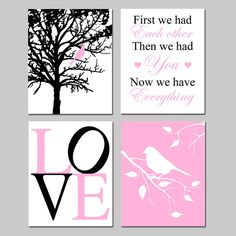 Baby Girl Nursery Art  Set of Four 8x10 Prints  Bird in by Tessyla, $65.00