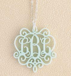 Laura Chandelier Acrylic Monogram Necklace
