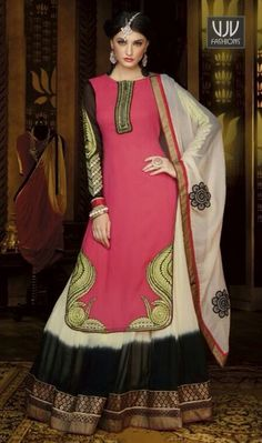 Amazing Pink Muticolored Georgette Designer Salwar Suit Amazing pink muticolored georgette designer salwar suit designed with embroidery, resham, stone, lace and patch border work.