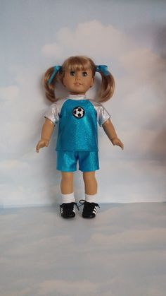 18 inch doll clothes - Aqua Blur Soccer Outfit made to fit the American girl doll - FREE SHIPPING by susiestitchit on Etsy