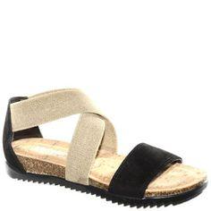 #Sandalo in sughero bicolor nero e beige con doppia fascia in caviglia.