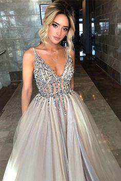 Sexy Deep V Neck High Split Side Tulle Prom Dresses with sequins for women