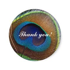 Peacock Thank You Sticker