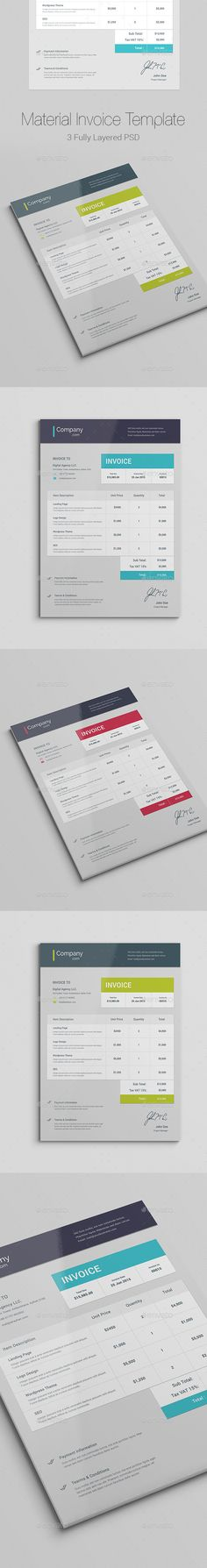 Material Invoice Template #design Download: http://graphicriver.net/item/material-invoice/11809418?ref=ksioks