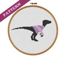 Easter Egg Sweater Raptor Dinosaur Modern Cross Stitch Pattern, Easy, Simple, Small, Spring, Animal, Beginner, Instant PDF Download
