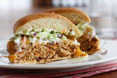 Buffalo Turkey Burgers with Blue Cheese Broccoli Slaw | Skinnytaste