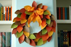 Colorful Thanksgiving Wreath made of Paper leaves ~ http://wp.me/p1N64P-x7 #Thanksgiving #Paper #Leaf #Wreath