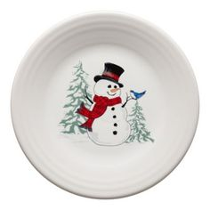 Fiesta Snowman Luncheon Plate In White - Add color and iconic Fiesta style to holiday entertaining with the charming Snowman Collection. Each piece features a whimsical snowman or woman, perfect to mix and match for a festive season. Christmas China, Christmas Dishes, Christmas Diy, Christmas Projects, Xmas, Fiesta Colors, Painted Plates, Painted Pottery, Pottery Painting