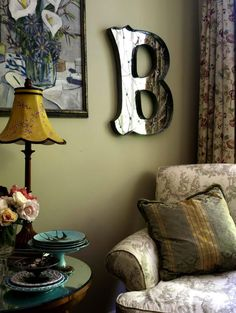 Cozy chair with monogrammed signage