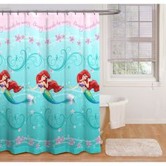 Disney Princess Ariel Little Mermaid Shower Curtain Bathroom Decor Accessories