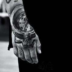 Compass hand tattoo - 60 Eye-Catching Tattoos on Hand  <3 <3