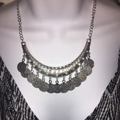 Boho Coin Necklace & Earring Set Boho Free People/Child of Wild like Coin Fringe Bib Necklace Clustered with rhinestones & Coin Earring Set. Perfect for layering your Boho Silver pieces for Spring & Summer. Free People Jewelry Necklaces