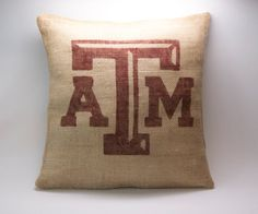 Texas A&M Burlap Pillow COVER  Hand Painted  by HowardInteriors