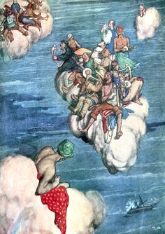 """Loud sang the souls of the jolly, jolly mariners. """"Collected verse of Rudyard Kipling"""" illustrated by W. Heath Robinson"""