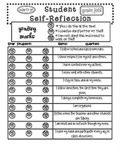 student behavior self reflection for report card