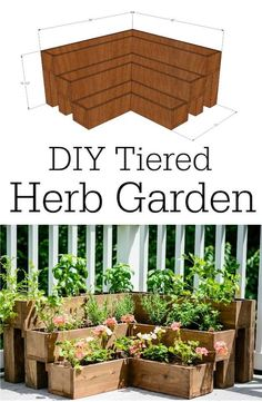 Great for decks and small outdoor spaces! would also work on the corner of a porch or narrow entry The post DIY Tiered Herb Garden Tutorial 2019 appeared first on Backyard Diy. Backyard Ideas For Small Yards, Small Outdoor Spaces, Small Space Herb Garden Ideas, Small Herb Gardens, Garden Ideas For Dogs, Cool Garden Ideas, Small Garden Plans, Flower Garden Plans, Narrow Garden