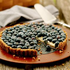 Recipe of the Day: Blueberry Tart With Walnut Crust. This rehabbed version has just 177 calories per serving! #dessert #healthyrecipe #healthydessert #tart #blueberryrecipe #blueberry #lowcal #lowcaldessert