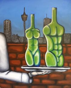Painting, acrylic painting, surrealism, silver platter, bottles, body shaped bottles.