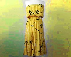 Vintage Yellow Strapless Dress @ http://www.etsy.com/shop/FrequencyVintage