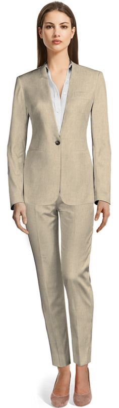 White Suit with beige shiny lapels and double welted pockets Tailored Suits, Trouser Suits, Tailor Made Suits, Beige Suits, Suits For Women, Clothes For Women, Thing 1, Classic Suit, Linen Suit