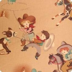 Tumbleweed Tots Cowboy Fabric, Antique Tan,  Alexander Henry 1 FQ. $3.99, via Etsy.