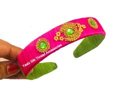 Yaalz Silk Thread Kids' Broad Hair Band In Pink & Light Green Colors Thread Bangles Design, Thread Jewellery, Jewellery Making, Jewelry, Silk Thread Earrings, Pink Light, Hair Bands, Jessie, Green Colors