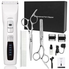 cyrico Dog Clippers Professional Heavy Duty Turbo Dog Grooming Clippers Kit for Thick Coats White Pet Clippers for Dogs Cats with LED Power Indication Low Noise (White) ** You can find out more details at the link of the image. (This is an affiliate link) Dog Grooming Clippers, Cat Grooming, Dog Grooming Supplies, Pet Supplies, Small Pomeranian, Dog Ramp, Dog Cleaning, Dog Pin, Dog Items