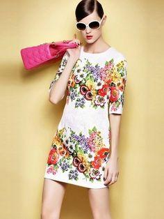 Half Sleeve Floral Printing A-Line Slim Dress