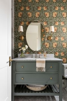 """Bold Floral Wallpaper Is Back BIG TIME... But With A Very """"2020"""" Makeover - Emily Henderson #bathroomdesign #homedecor #wallpaper Bathroom, Decor, Jewel Box, Green Paint Colors, Emily Henderson, Interior, Studio Mcgee, Floral Wallpaper, Home Decor"""