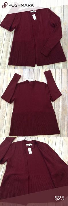 """Loft wide ribbed open burgundy cardigan This burgundy Loft sweater is made with Italian yarn. Wide ribbed placket, cuffs and hem APPROX FLAT MEASUREMENTS  26"""" ↕️ 25"""" sleeve 13"""" ↔️ shoulders 18"""" ↔️ armpits LOFT Sweaters Cardigans"""