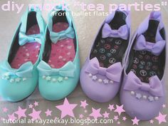 Top 5 Cute DIY Blogs and Crafts | Watch how this blogger turned plain black ballet flats in to lolita or fairy kei style beauties.