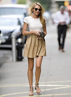 camel pleated skirt and basic white tee